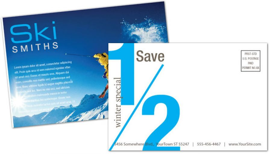 Ski Shop Resort Postcard Design Layout