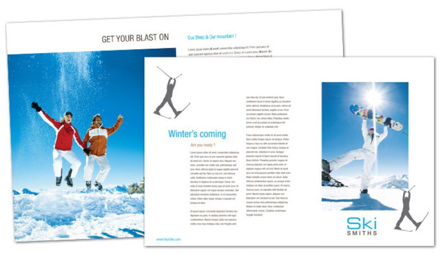Ski Shop Resort Tri Fold Brochure Design Layout
