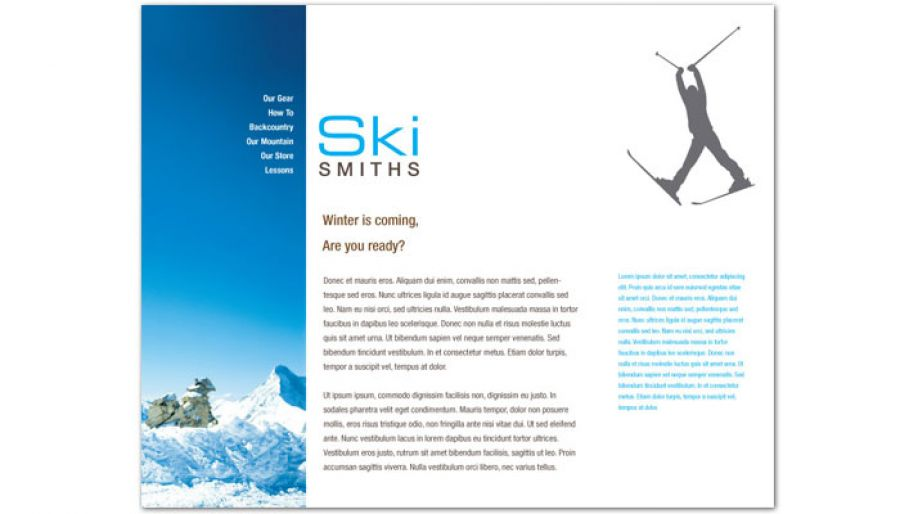 Ski Shop Resort Website Design Layout