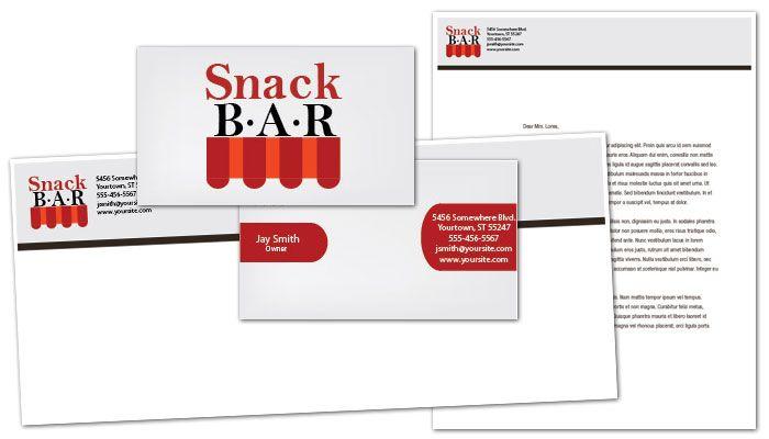 Snack Bar Cafe Deli Restaurant Envelope Design Layout