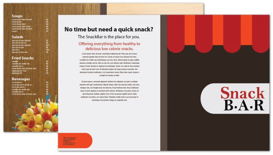 Half Fold Brochure Template For Snack Bar Cafe Deli Restaurant