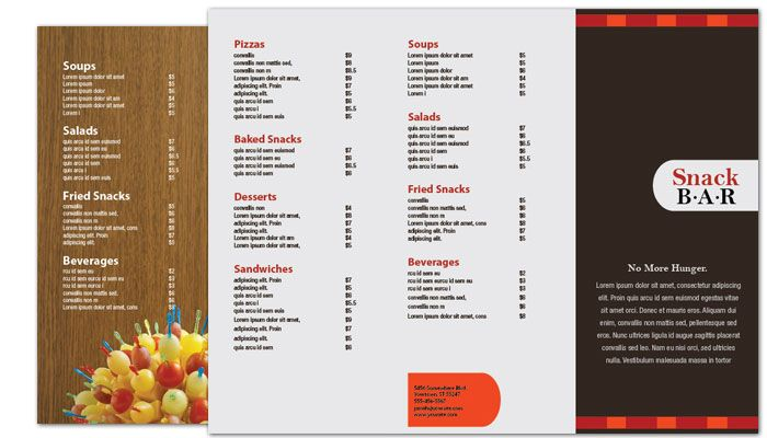 Snack Bar Cafe Deli Restaurant Tri Fold Brochure Design Layout