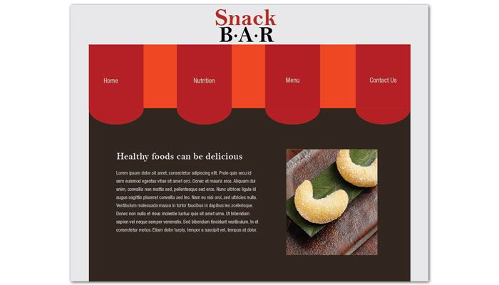 Snack Bar Cafe Deli Restaurant Website Design Layout