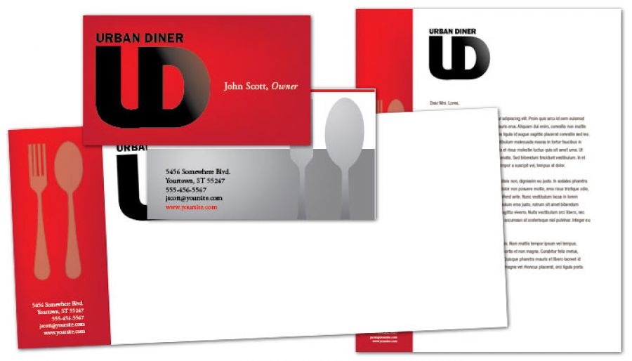 Urban Diner Restaurant Envelope Design Layout