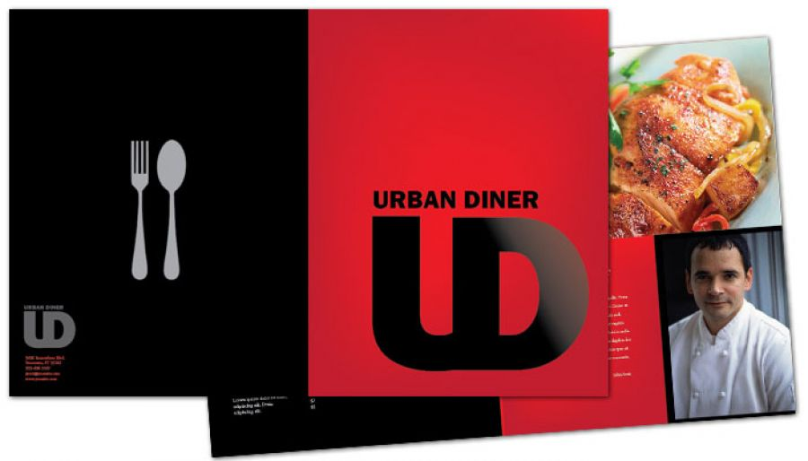 Urban Diner Restaurant Half Fold Brochure Design Layout