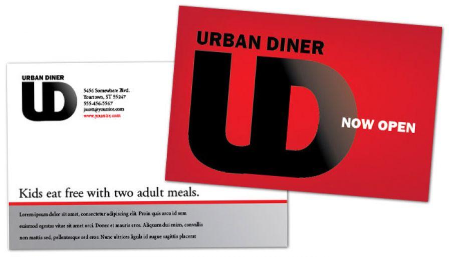 Urban Diner Restaurant Postcard Design Layout