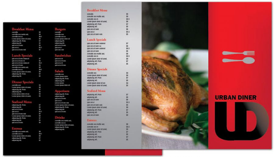 Urban Diner Restaurant Tri Fold Brochure Design Layout
