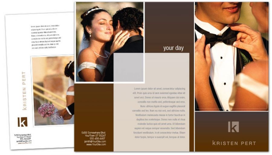 Tri Fold Brochure Template For Wedding Event Photographer. Order