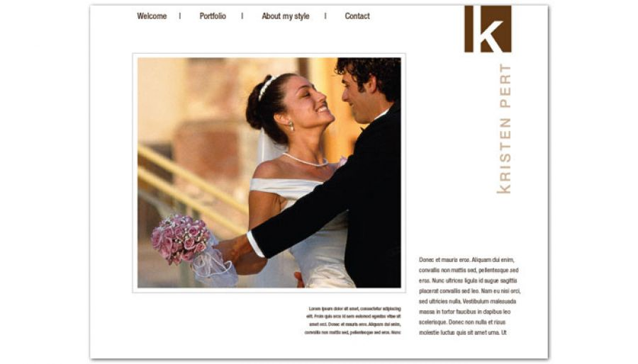 Wedding Event Photographer Website Design Layout
