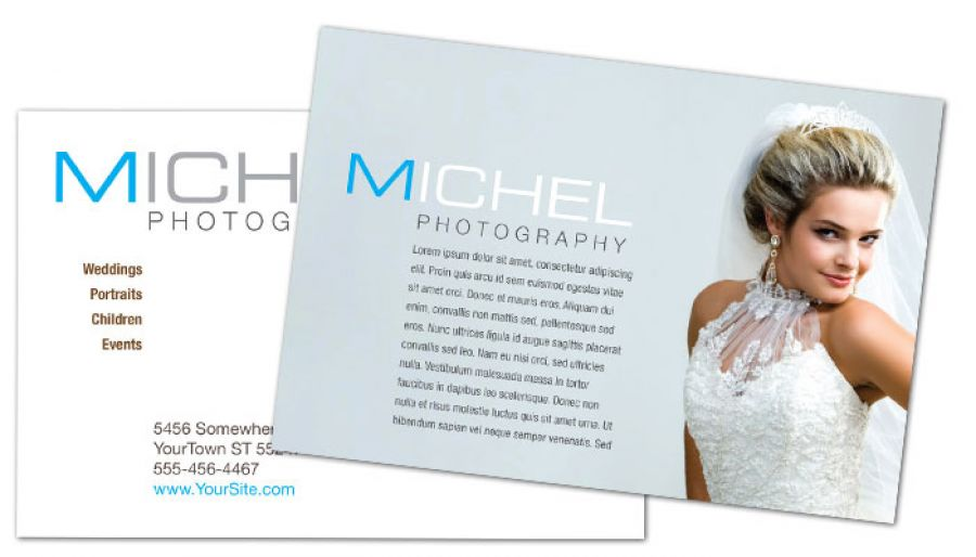 Postcard Template For Wedding Photographer. Order Custom Postcard