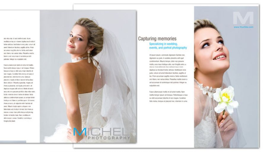 Wedding Photographer Tri Fold Brochure Design Layout