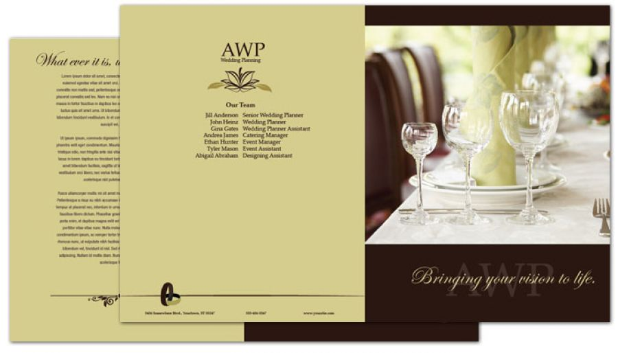 Half Fold Brochure Template For Wedding Planner. Order Custom Half