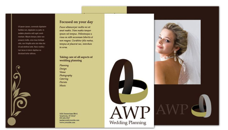 Tri Fold Brochure Template For Wedding Planner. Order Custom Tri