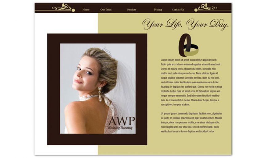 Website template for wedding planner order custom website for Wedding planner brochure template